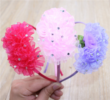 Children Solid Color Chiffon Flowers HairBands Cute Hair Hoop Boutique Hair Bands Rhinestone Head Band Girls Hair Accessories(China)