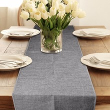 5pcs Rustic Natural Jute Decor Tablecloth Imitated Linen Table Runner for Wedding Part Table Decornation Khaki/Gray