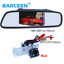 "4.3"" LCD car screen mirror +ccd car rearview  camera bring 4 led for Renault Fluence/Dacia Duster/Megane 3/ for Nissan Terrano"