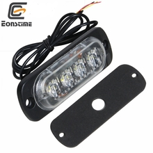 Eonstime 12V/24V Car 4Led Strobe Warning Light Strobe Flashing Light bar Truck Beacon Lamp Traffic light Amber/Yellow Red Blue