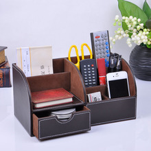 Multifunctional Wooden Leather Office Desk Stationery Pen Pencil Holder Case pen box Desktop Organizer accessories 201B(China)