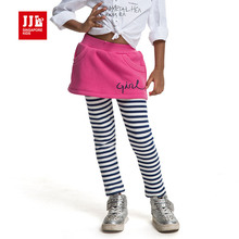 girls leggings bottom classical striped long pants + sweet dress elastic waist convinient JJLKIDS free shipping 4-11y