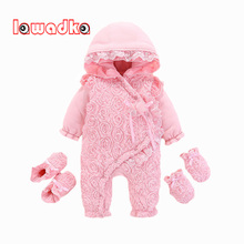 Newborn Baby Girl Rompers Long Sleeve Cotton Baby Rompers Winter Baby Jumpsuit 1st Birthday Party Lace Floral Baby Gloves Socks