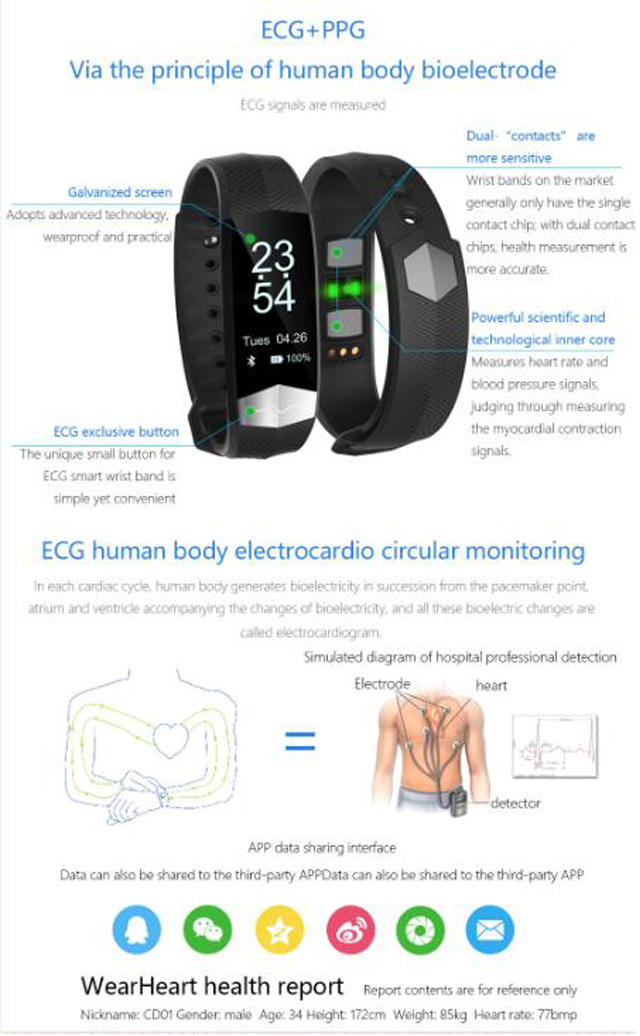 CD01 Graphene ECG HeartRate Blood Pressure Smart Bracelet for iphone Android Sleep Pedometer Activity Tracker Call SMS Reminder 18