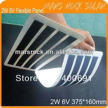 2W 6V 375*160mm Amorphous Silicon Flexible Thin Film Solar Panel with Good Flexible, Waterproof, Lightweight, Good Performance