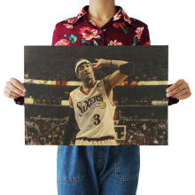 Bearoom Home Decoration Wall Stickers Retro Kraft Paper Poster Allen Iverson NBA Star for Kids Room Decal Shop Bar Cafe Painting(China)
