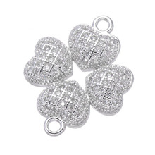 Hot Trendy Jewelry Shining Zircon Heart Clover Charms For Jewelry Making Diy Micro Pave Charms Vintage Accessories High Quality