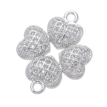 Hot Trendy Jewelry Shining Zircon Heart Clover Charms For Jewelry Making Diy Micro Pave Charms Vintage Accessories High Quality(China)