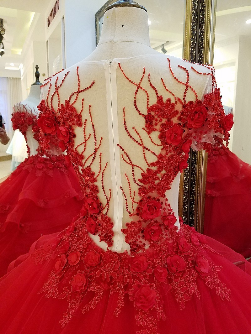 Long Red Evening Dresses for Engagement Ball Gown 3D Flowers Evening Party Dress Vestido De Noche Real Photos 2018(China)