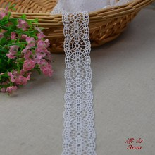 10yard/lot Ivory embroidered lace fabric, DIY handmade lace accessories textile lace ribbon trim design