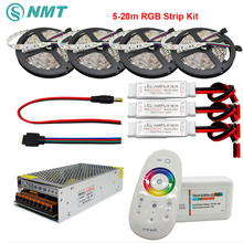 DC12V RGB Led Strip SMD 5050 Waterproof/Non Waterproof Led Light+2.4G RF Remote Controller+Power adapter Kit 5M 10M 15M 20M(China)