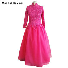 Real Photo Fuchsia Beaded Lace Long Sleeve Muslim Evening Dresses 2018 New Ball Gown High Neck Party Prom Gowns vestido de festa(China)