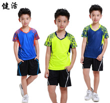 children's Badminton Jersey,empty short sleeve shirt, breathe Kid Table tennis T shirt children sport Jersey shorts Blue XS-3XL