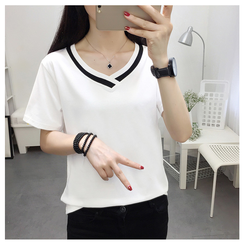 4XL 5XL Plus Size Korean Women's Clothing Fashion Big Size T-shirt Female V neck Short Sleeve Casual obesity Tee Shirt Top Femme 35 Online shopping Bangladesh