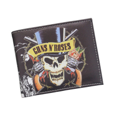 Vintage Designer Leather Men Wallet American Hard Rock Band GunsN'Roses Wallet Skull Gun Printing Short Coin Wallet Holder Purse(China)