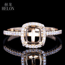 HELON Cushion 6x5.5mm Semi Mount Real Natural Diamonds Ring Solid 14K Yellow Gold Engagement & Wedding Women's Jewelry Ring(China)
