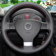 Black Leather Car Steering Wheel Cover for Volkswagen Golf 5 Mk5 Sagitar Magotan Passat B6 Jetta 5 Mk5 Tiguan 2007-2011