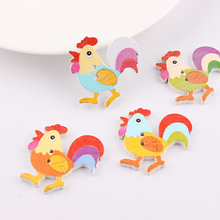 50Pcs Multicolor Big Cock Botones Knopf 2 Holes DIY Random Wooden Buttons Sewing Scrapbooking Accessories 31*31.5mm(China)