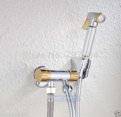 Good Quality Chrome Finished Brass Multi-function Spray Gun Suit Bathroom Bidet Faucets<br><br>Aliexpress