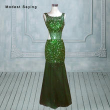 Sexy Backless See Through Green Mermaid Beaded Evening Dresses 2017 with Rhinestone  Formal Engagement Long Party Prom Gowns YE15 7450ca57b62e
