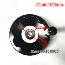 FREE SHIPPING Plastic Revolving Handle Metal Back Ripple Hand Wheel Black for Lathe Milling Machine M12 100MM(China)