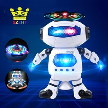 Lovely Electric Smart Space Walking Dancing Robot Electronic Pets Toys for Children Musical Flashing Automatic Rotation Model