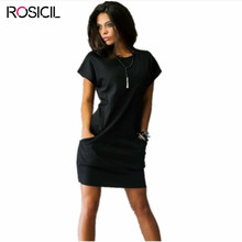 2017 Summer Women Dresses Sexy O-neck Black Blue Red Dress Casual Pencil Short Sleeve Pockets Mini Shirt Dress Women Clothing