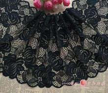 3 Meters 20CM Unique Design Black Elastic Stretch Wide Embroidery Lace Applique Trim Sewing DIY Craft
