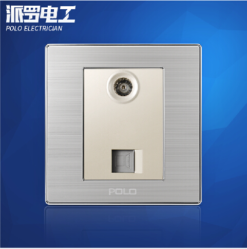 Wholesale POLO Luxury Wall Socket Panel, Computer+Tv Outlet, Champagne/Black, Electric Socket, 10A, 110~250V, 86*86mm<br><br>Aliexpress