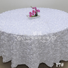 "White 2.6M/102"" Wedding Round Table Cloth Overlays 3D Rose Flower Tablecloths Wedding Decoration Banquet Party Table Supplier"