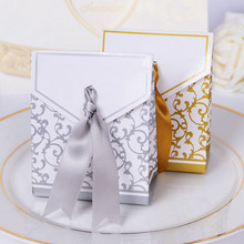 10Pcs/lot Gold Silver Candy Paper Box With Ribbon Gift Bags Wedding Favors Sugar Case Birthday Party Decor Mariage Casamento(China)
