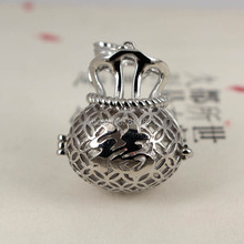 New Rhodium tone Plated Brass Wish Prayer Box Hollow Filigree Locket Cage Pendant Findings Craft Essential Oil Diffuser(China)