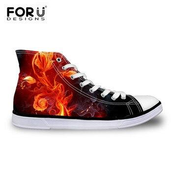 FORUDESIGNS Classic Ocio de Alta-Top Zapatos de Lona Estrella de Punk Cráneo Fuego Caballo Diseño Zapatos Casuales Mujeres de Los Zapatos Vulcanizados