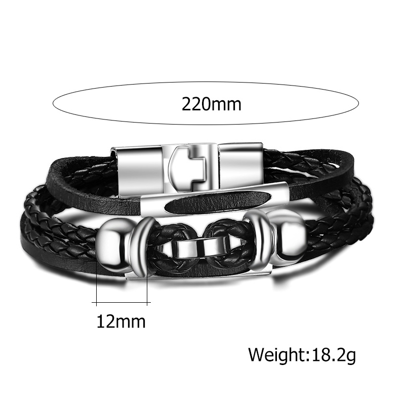 Meaeguet High Quality Multi-Layered Charms Hematite Bracelets & Bangles Men Rock Jewelry Braided Rope Chain Leather Bracelet (12)