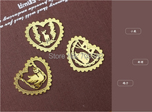 Bookmark.Lovely heart series cute animal shape metal gold bookmarks,gift Office material school supplies(tt-2507)
