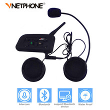 Vnetphone V6 Motorcycle Bluetooth Helmet Intercom Headset 1200M Motorbike Wireless BT Interphone for 6 Riders Intercomunicador(China)