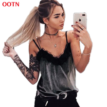 OOTN Lace Top Women Grey Camis Ladies Soft Wear Summer Cotton Velvet Strap Tank Tops High Quality Camisole Party Club Sexy(China)