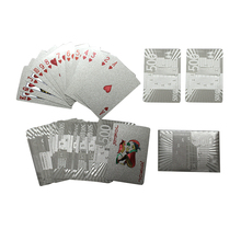 24K Silver Playing Cards Deck Silver Foil Poker Set Magic Card Durable Waterproof Game Cards Euro US Dollar Design Poler cards