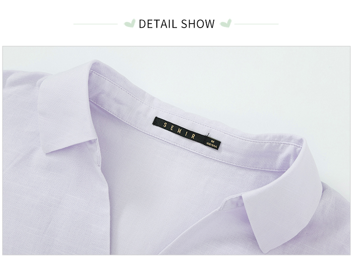 SEMIR Short sleeve white shirt women summer 19 new lapel V-neck shirt simple solid color students fresh relaxed blouse 15