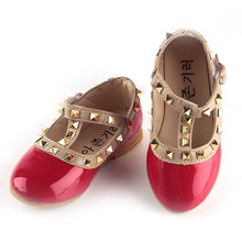 Fashion girls sandals children casual leather shoes princess shoes  kids dancing flats rivets for Christmas or birthday gifts