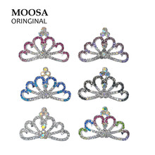 MOOSA Mini Hair Accessories for Kids Baby Girls Crystal Rhinestone Hair Combs Clips Tiara Hairpins Crown Hair Jewelry