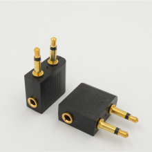 gold double 3.5mm Stereo jack Airline Earphone Travel audio Converter Adapter for Airplane headphone adaptor Accessories
