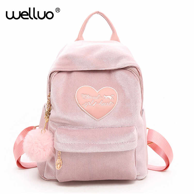 21afcdfc5e Preppy Style Soft Fabric Pink Backpack Female Corduroy Design School  Backpack For Teenage Girls Striped Backpacks