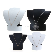 Folding Velvet Jewelry Necklace Bust Earring Display Holder Stand Rack Show Case Black white-W128
