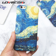 LOVECOM For iPhone 5 5S SE 6 6S Plus 7 7 Plus Case Hot Oil Painting Back Cover Starry Sky Hard PC Phone Cases Bags Lowest Price