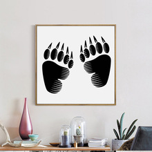 Black Funny Bear Footprints Picture Round Mosaic Handwork Diamond Painting Bedroom Decoration Full Embroidery Diamond Paintings