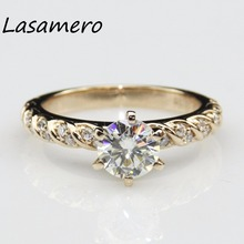 LASAMERO Ring For Women 1CT  Certified Moissanite Ring Accents 18k Gold Real  Engagement Wedding Ring