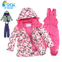 SP-SHOW Winter Children's Outwear Turtleneck striped and printed jackets Kids clothing boys and girls ski jacket suit 009/011(China)