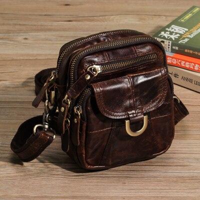 Vintage Genuine Crazy Horse Leather Brown Leather Weekend Bag Shoulder Mens Messenger Bag laptops<br>