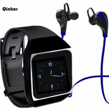 Qinkar 8GB watch MP3 player +Bluetooth headphones bluetooth sport earphone wireless earbuds +bluetooth sport MP3 watch players(China)